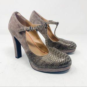 5/48 Suede & Snakeskin T-Strap Mary Jane Heels